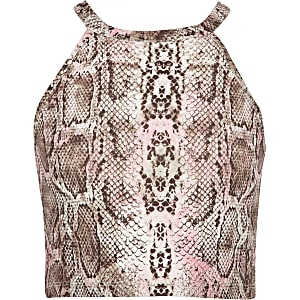 Girls pink snake print crop top