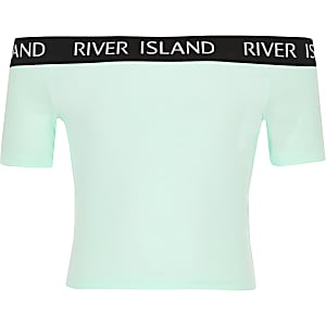 Girls light green bardot jersey top