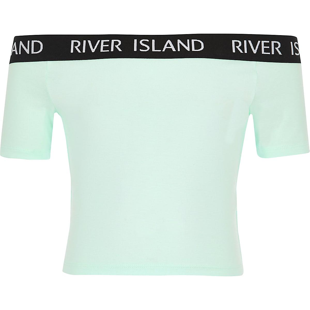 Girls light green bardot jersey top