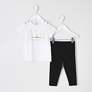 Ensemble avec t-shirt à inscription « Unique » blanc pour mini fille