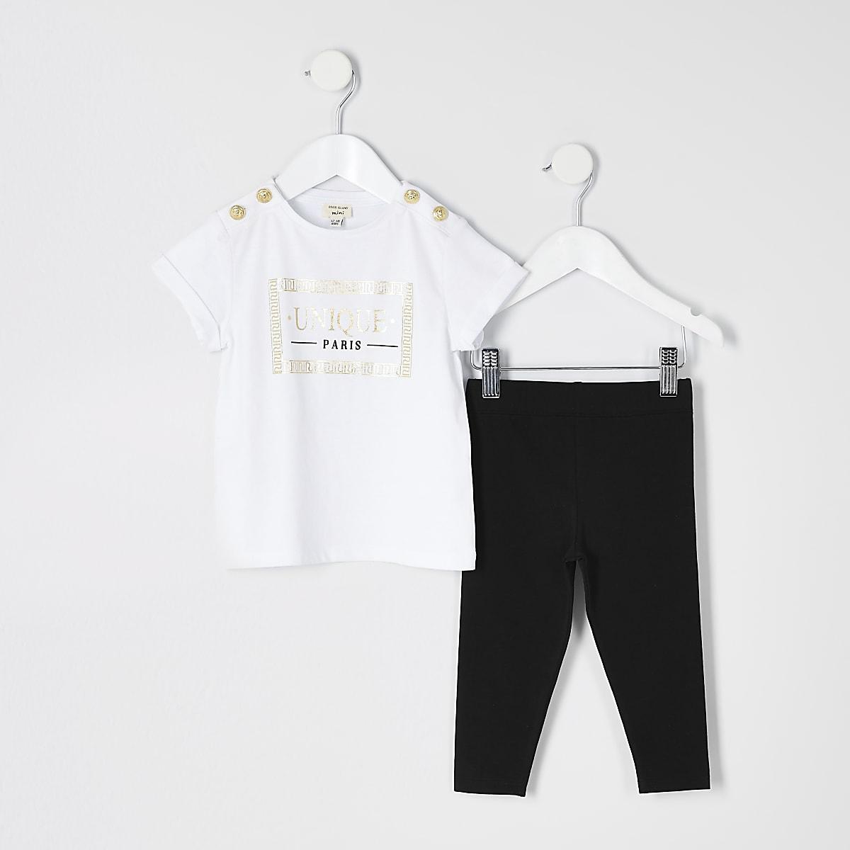 Mini girls white 'Unique' T-shirt outfit