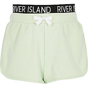 Girls lime RI waistband runner shorts
