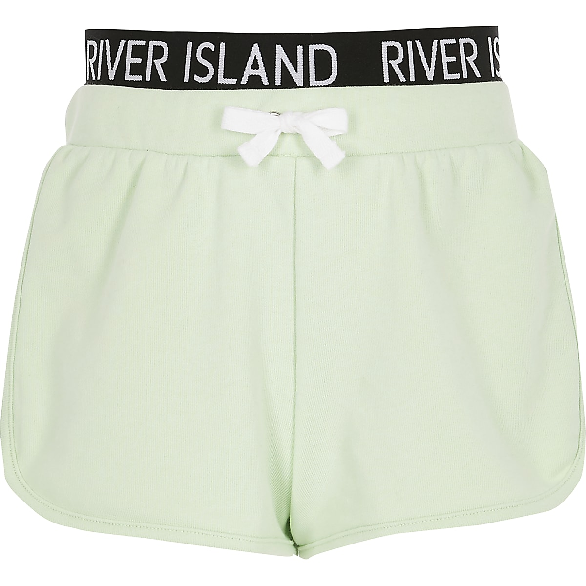 Girls lime RI waistband runner shorts