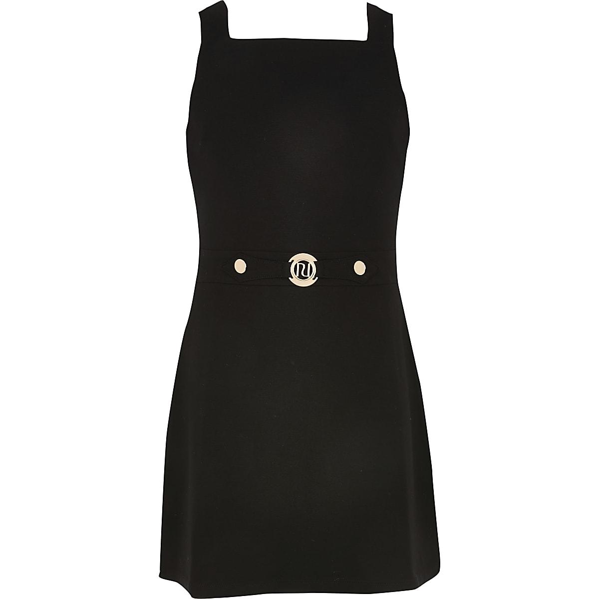 Girls black pinafore dress