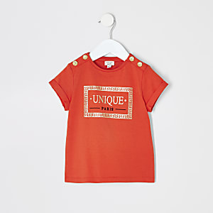 Mini girls red printed button T-shirt