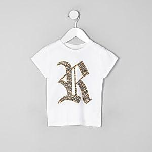 Mini - Wit familie-T-shirt met RI-logo voor meisjes