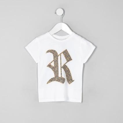 Mini girls white family twinning RI T-shirt