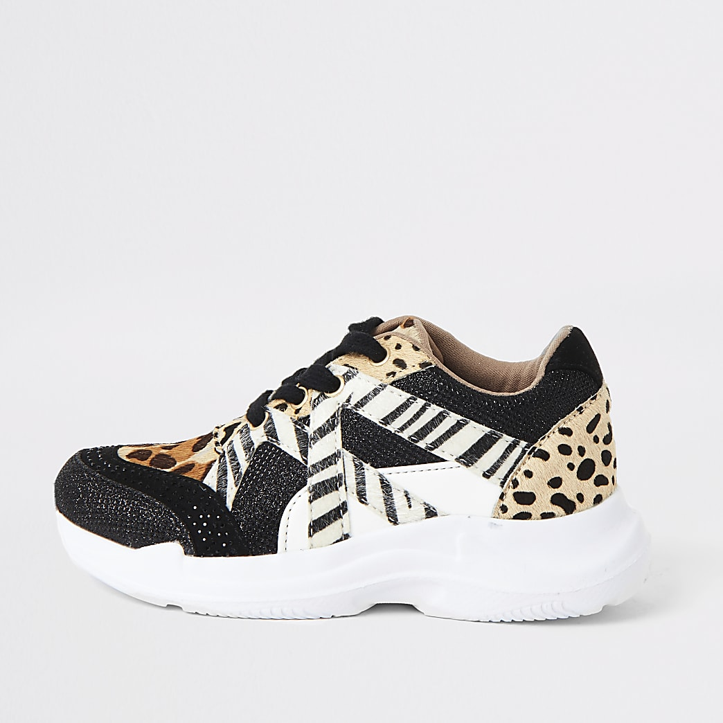 Girls brown animal print lace-up trainers