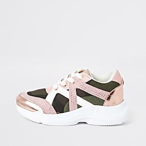 Roze sneakers met camouflageprint en siersteentjes voor meisjes