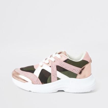 Girls pink diamante camo trainers
