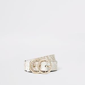 Bruine riem met ring, slangenprint en gesp voor meisjes