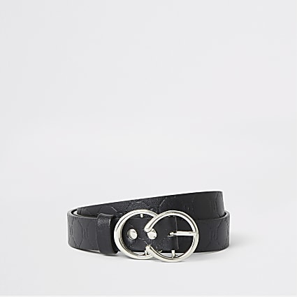 Girls black RI monogram belt