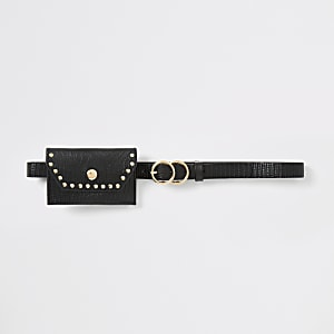 Girls black purse belt