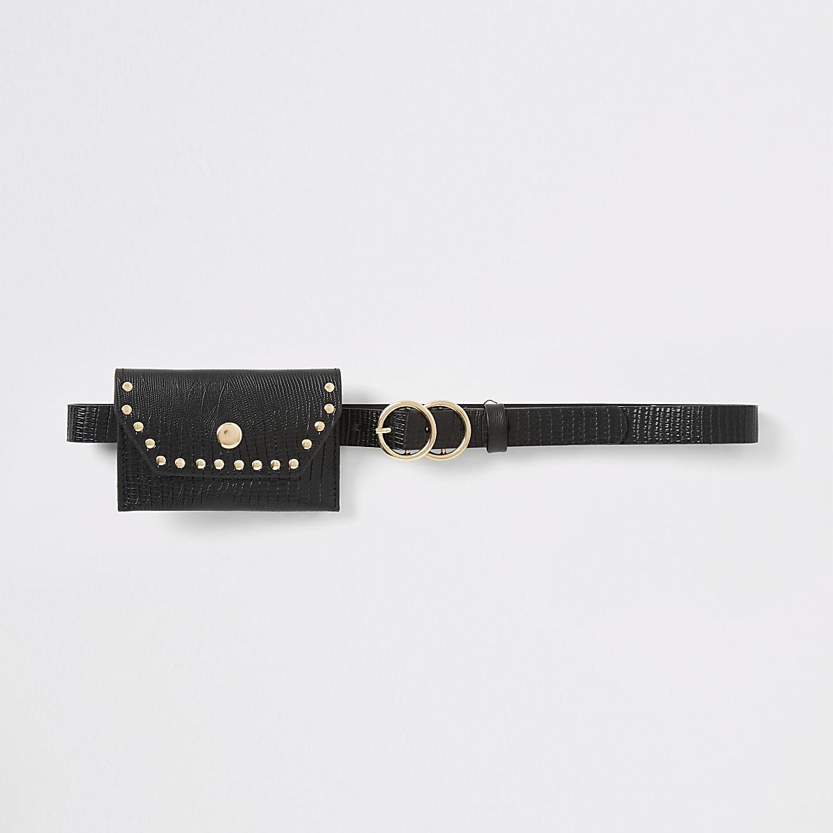 Girls black purse belt