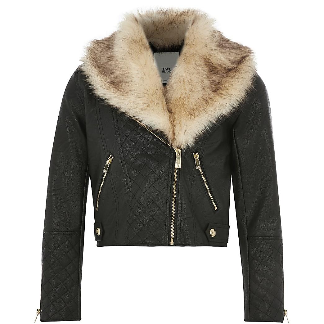 Girls black faux fur quilted biker jacket