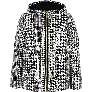Girls dogtooth check print rain mac