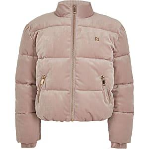 Pinke RI-Cord-Pufferjacke für Mädchen