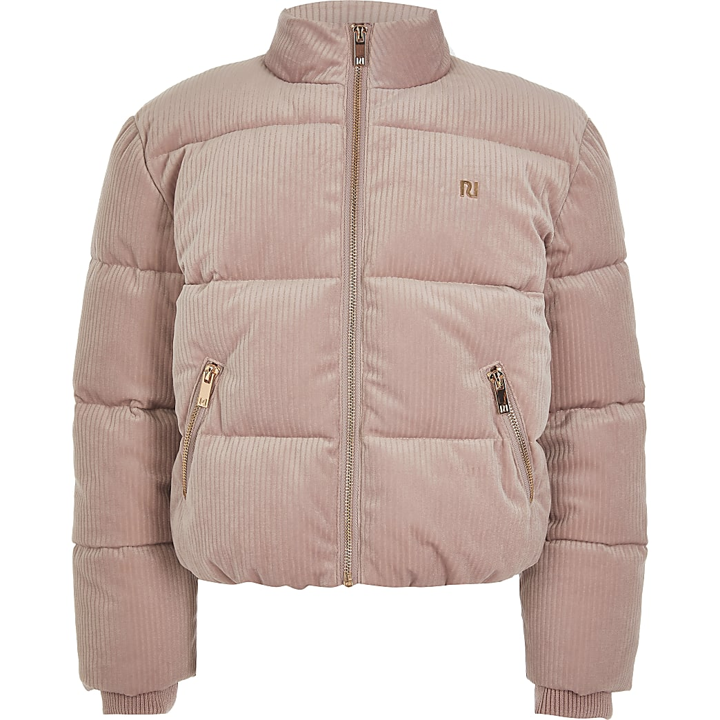 Girls pink cord RI puffer jacket | River Island