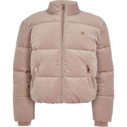 Girls pink cord RI puffer jacket