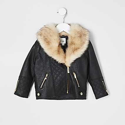 Mini girls black quilted biker jacket