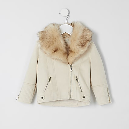 Mini girls cream quilted biker jacket