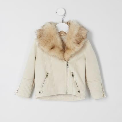 Mini girls cream quilted biker jacket