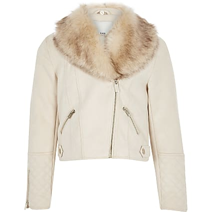 Girls cream quilted biker jacket