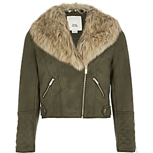 Girls khaki faux fur collar biker jacket