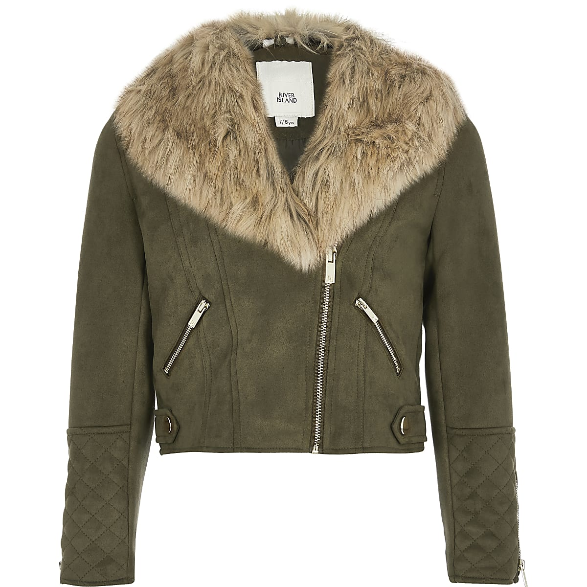 Girls khaki faux fur collar biker jacket