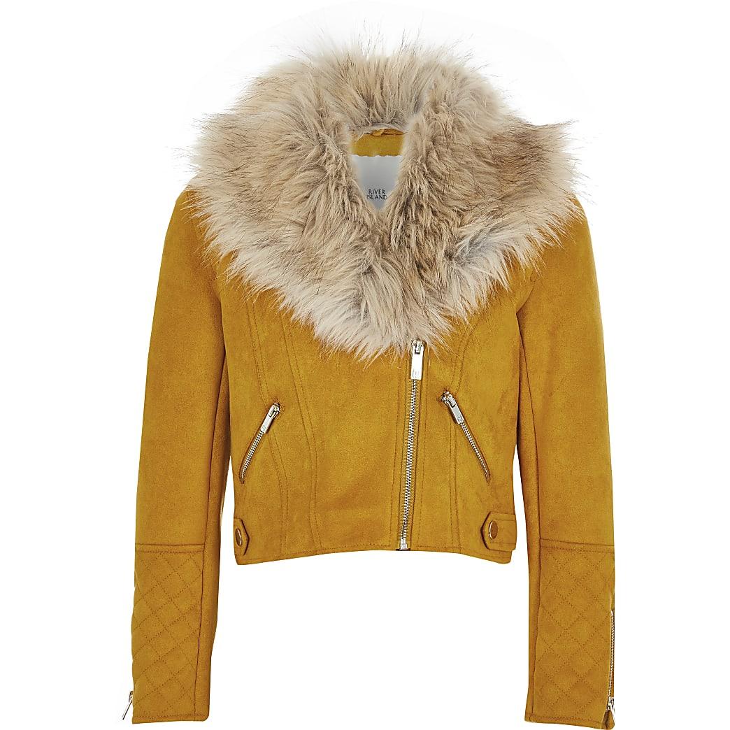 Girls yellow faux fur collar biker jacket