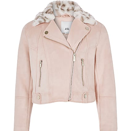 Girls pink faux fur trim biker jacket