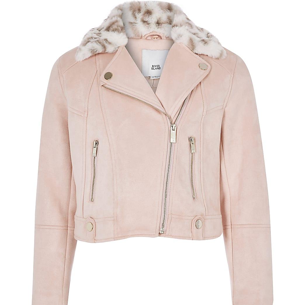 Girls pink faux fur trim biker jacket