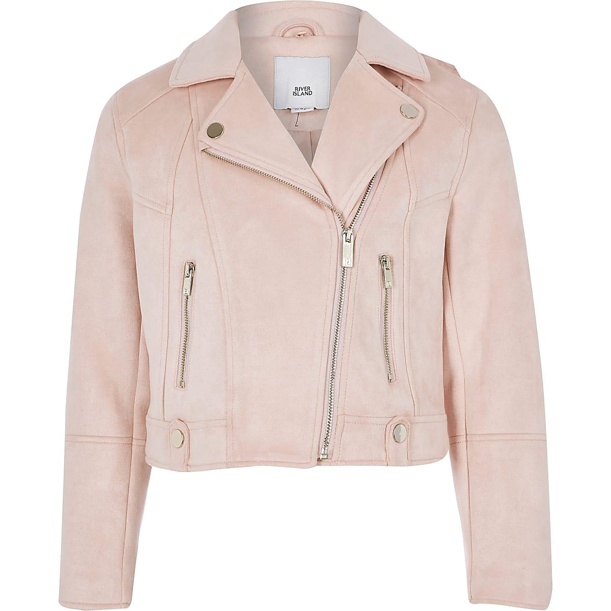 fa7dde92f Girls pink faux fur trim biker jacket