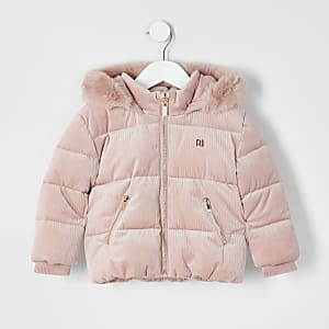 Manteau rembourré rose en velours côtelé Mini fille