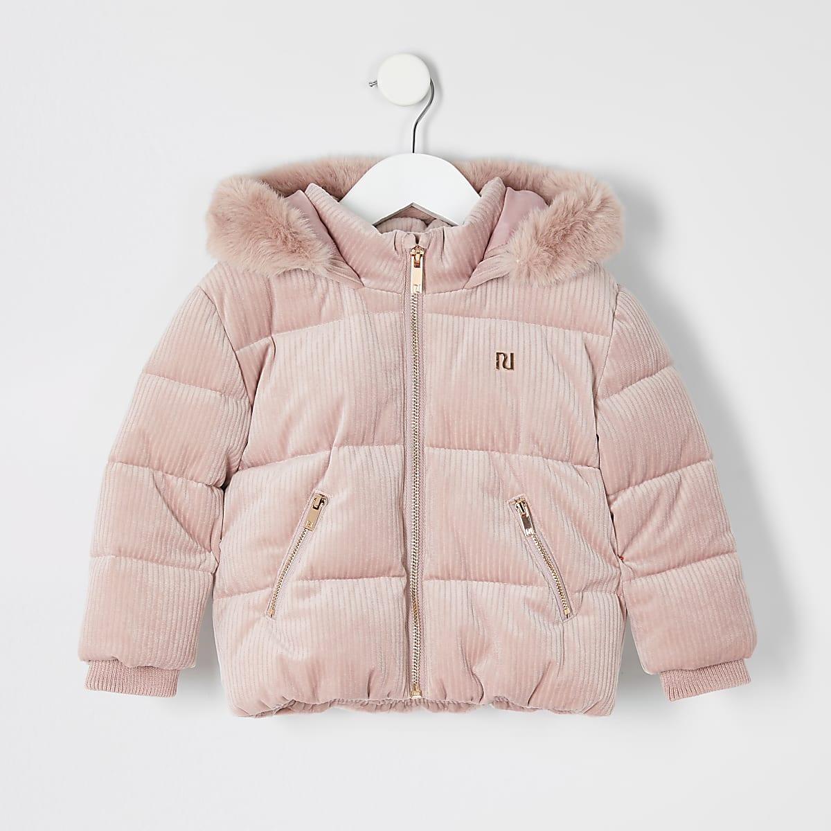 Mini - Roze gewatteerde jas met koord voor meisjes