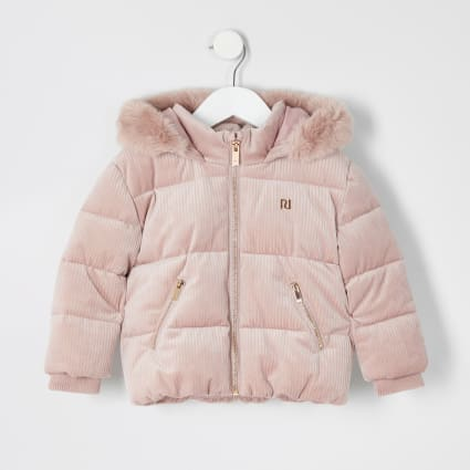 Mini girls pink cord padded coat