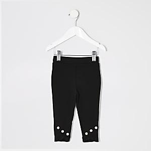 Mini - Zwarte legging met ruches voor meisjes
