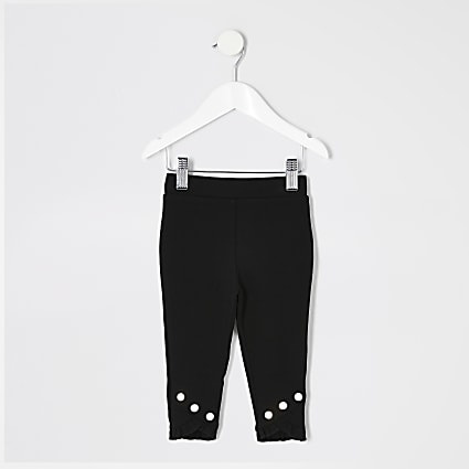 Mini girls black frill leggings