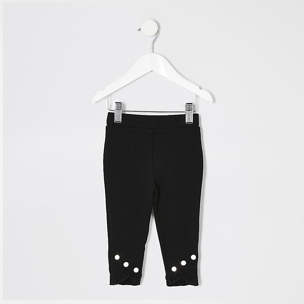 Mini girls black frill hem leggings
