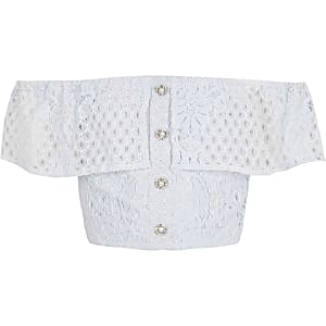 Girls blue broderie bardot top