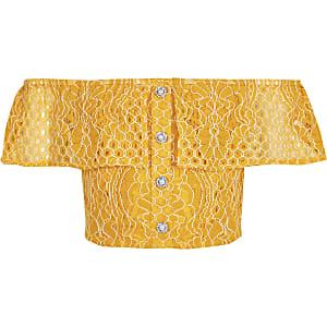 Gelbes Bardot-Oberteil mit Lochstickerei