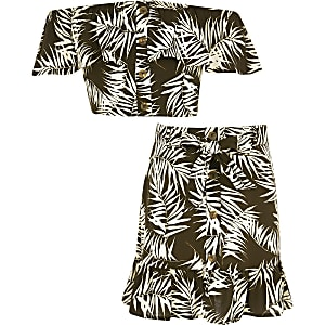 Girls brown palm print bardot top outfit