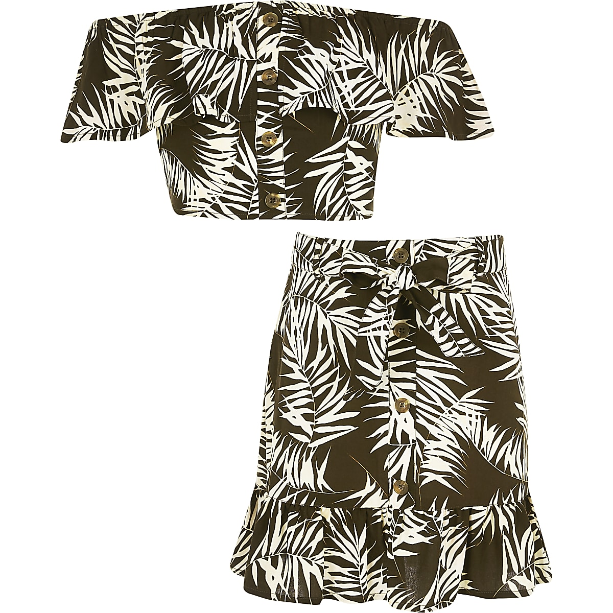 Girls brown palm print bardot top outfit