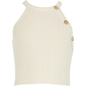 Girls cream knitted crop top