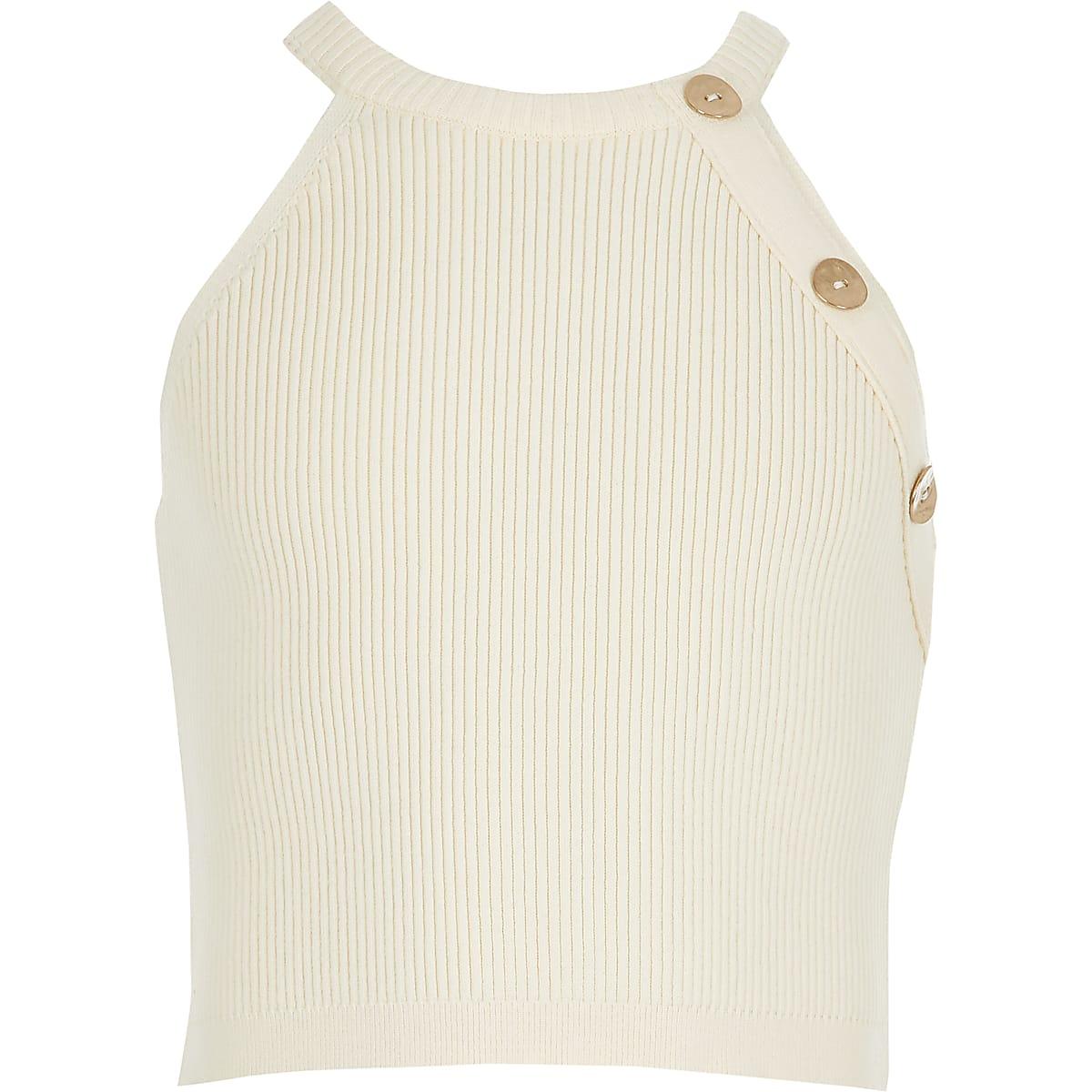 Girls cream knitted crop top