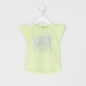 Mini girls yellow 'Lovely' frill T-shirt
