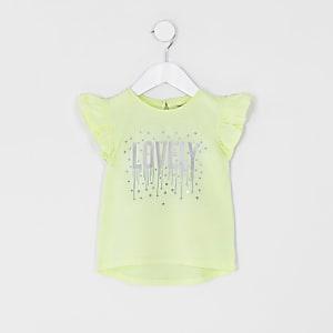 Mini - Geel T-shirt met 'Lovely'-print en ruches voor meisjes