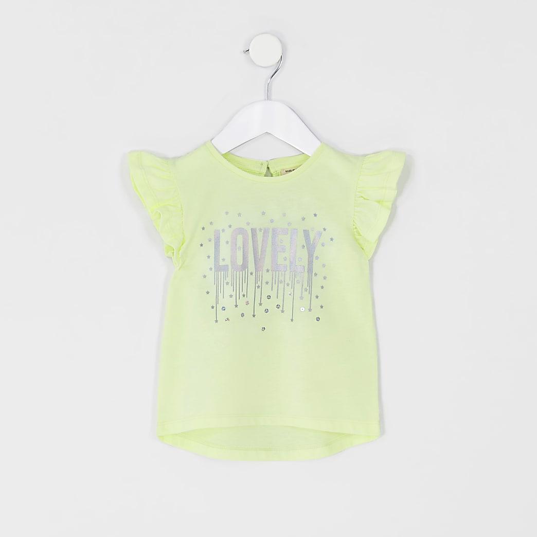 Mini girls yellow 'Lovely' frill T-shirt