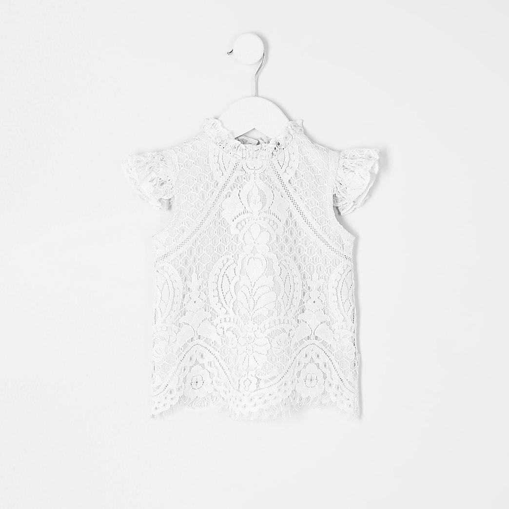 Mini girls cream lace top