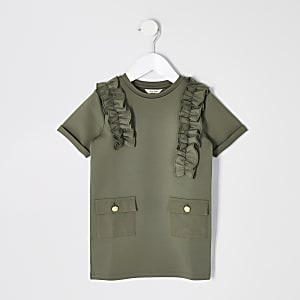 Mini girls khaki utility dress